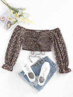 ZAFUL Ditsy Print Off Shoulder Ruffle Smocked Cinched Blouse - Coffee S