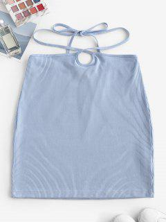 ZAFUL Ribbed Straps Tie Bodycon Skirt - Light Blue L