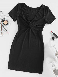 ZAFUL Ribbed Twisted Plunge Fitted Dress - Black L