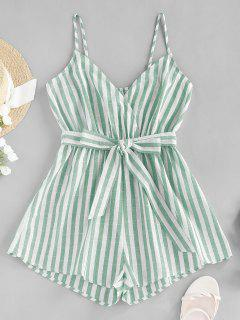 ZAFUL Striped Belted Cami Wide Leg Romper - Light Green Xl