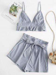 ZAFUL Striped Belted Bralette Two Piece Suit - Deep Blue M