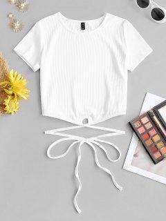 T-Shirt Corta A Costine Con Spalline Annodate Di ZAFUL - Bianca L