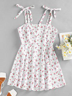 ZAFUL Floral Tie Shoulder Mini Summer Dress - White S