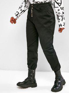 Jean Boutonné Coupe Haute à Ourlet Effrangé Grande Taille - Noir 4xl