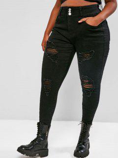 Plus Size Skinny Raw Hem Distressed Jeans - Black 3xl