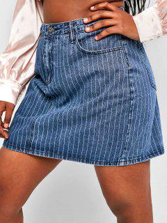 Plus Size Pinstriped Mini Denim Skirt - Blue 1xl