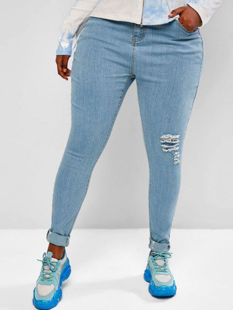 Plus Size Ripped Light Wash Skinny Jeans - أزرق فاتح L Mobile