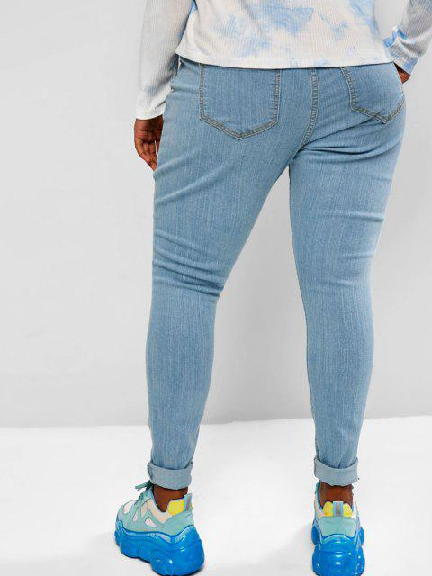 latest Plus Size Ripped Light Wash Skinny Jeans - LIGHT BLUE 3XL Mobile