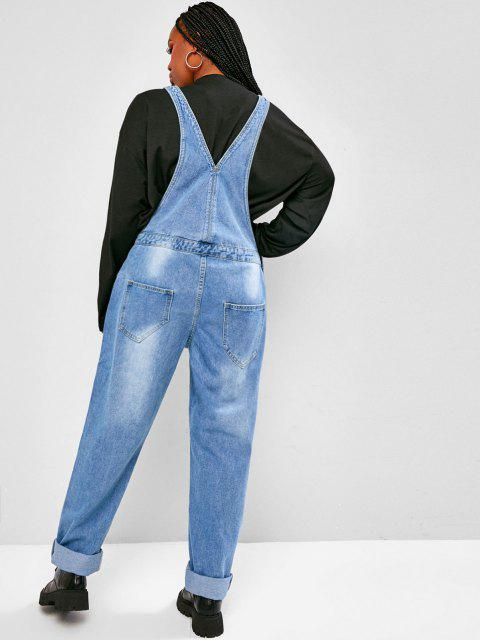 trendy Plus Size Distressed Denim Overalls - LIGHT BLUE L Mobile