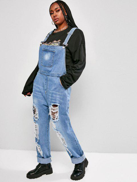 fancy Plus Size Distressed Denim Overalls - LIGHT BLUE 3XL Mobile