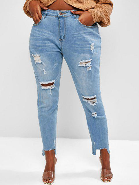 Plus Size Stepped Hem Distressed Skinny Jeans - أزرق 2XL Mobile