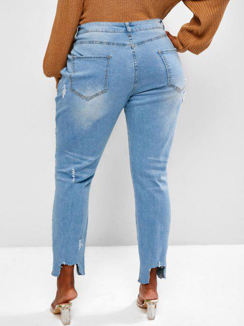 new Plus Size Stepped Hem Distressed Skinny Jeans - BLUE 2XL Mobile