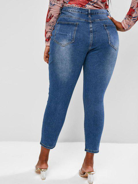 shops Plus Size Basic Button Fly Frayed Basic Jeans - BLUE 3XL Mobile