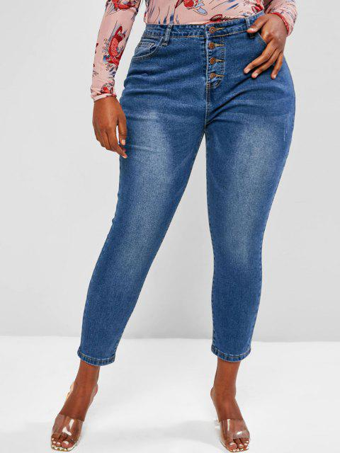 Plus Size Basic Button Fly Frayed Basic Jeans - أزرق 3XL Mobile