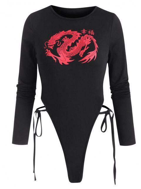 ladies Tie Side Dragon Oriental G-string Bodysuit - BLACK L Mobile