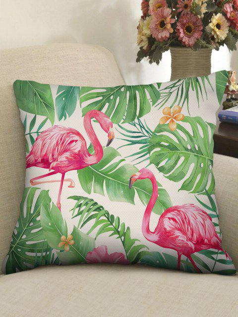 shops Printed Flamingo Tropical Leaves Linen Square Pillowcase - CLOVER GREEN W18 X L18 INCH Mobile