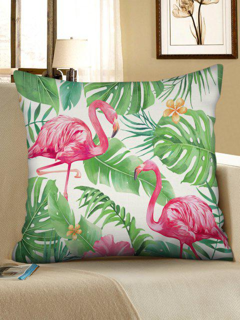 Printed Flamingo Tropical Leaves Linen Square Pillowcase - Verde de Trevo W18 x L18 polegadas Mobile