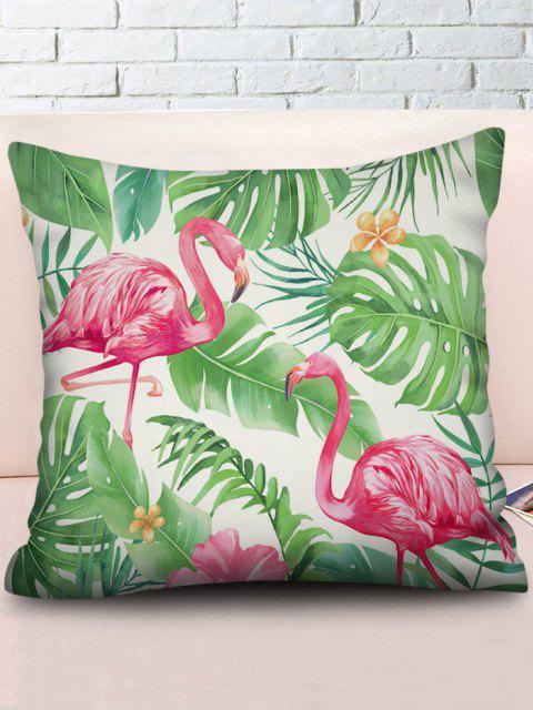 Printed Flamingo Tropical Leaves Linen Square Pillowcase - Kleeblatt Grün W 18 x L 18 Zoll Mobile
