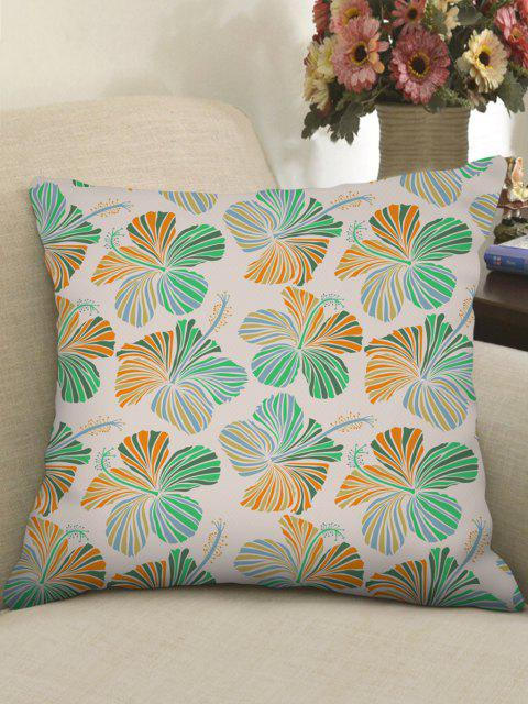 trendy Floral Pattern Linen Square Pillowcase - MINT GREEN W18 X L18 INCH Mobile