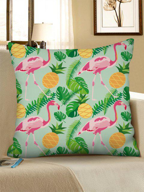 fashion Tropical Flamingo Pineapple Printed Linen Pillowcase - GREEN PEAS W18 X L18 INCH Mobile