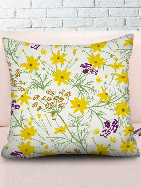 chic Flower Printed Linen Square Pillowcase - RUBBER DUCKY YELLOW W18 X L18 INCH Mobile