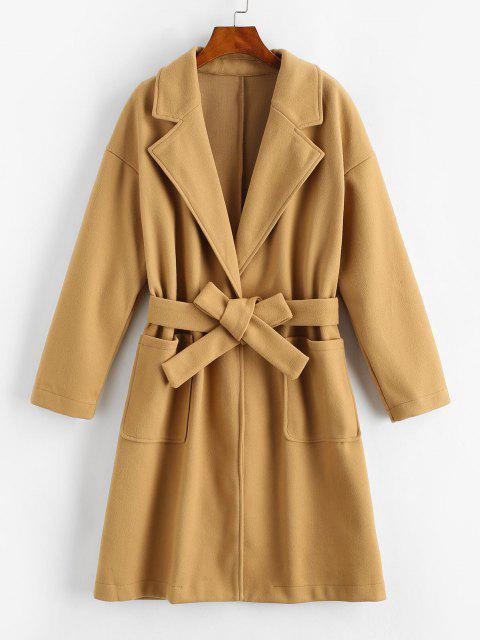 hot Pockets Belted Wool Blend Long Coat - COFFEE S Mobile