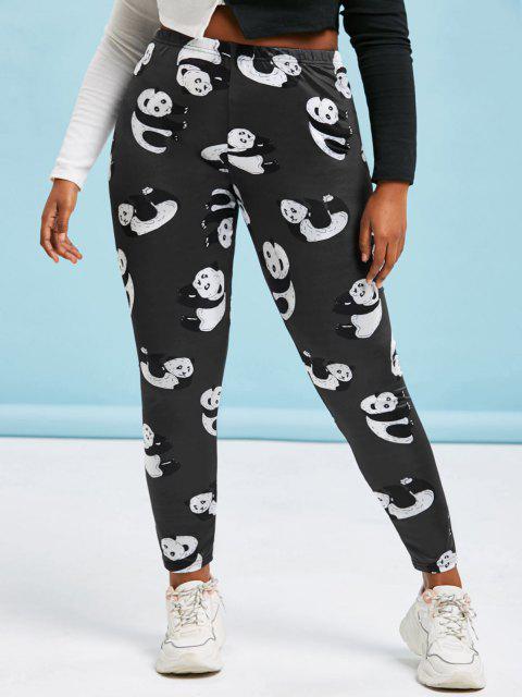 Legging Moulant Panda Imprimé de Grande Taille - Noir L Mobile