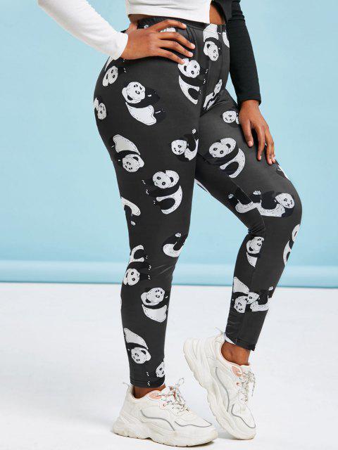 Plus Size Panda Print Skinny Leggings - أسود 1X Mobile