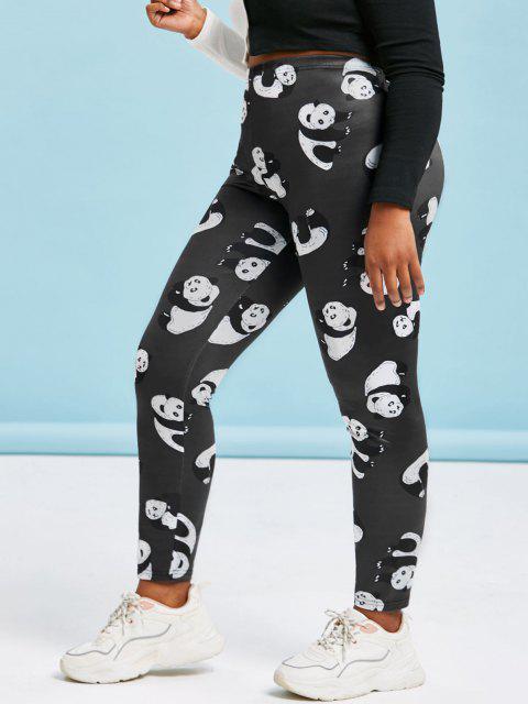 Plus Size Panda Print Skinny Leggings - أسود 2X Mobile
