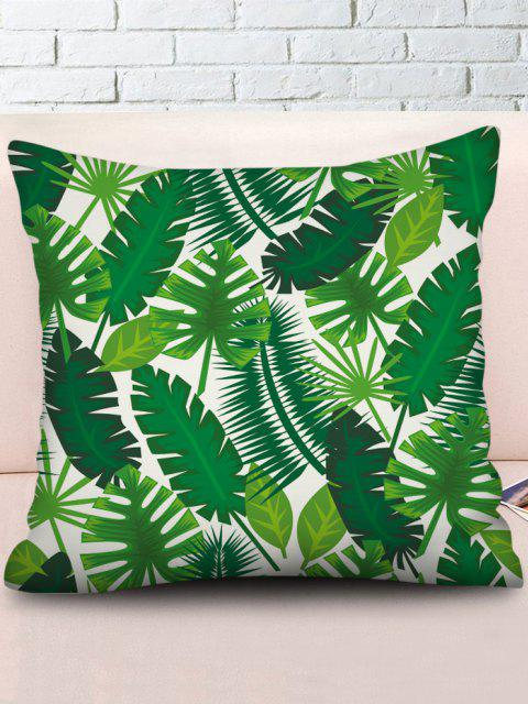 Printed Tropical Leaves Linen Square Pillowcase - Verde de Primavera Média W18 x L18 polegadas Mobile