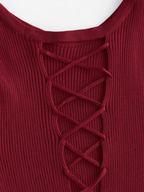 fancy Ribbed Criss Cross Bodycon Dress - DEEP RED ONE SIZE Mobile