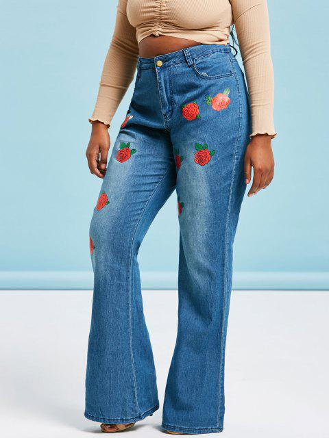 Floral Rose High Waisted Plus Size Flare Jeans - أزرق XL Mobile