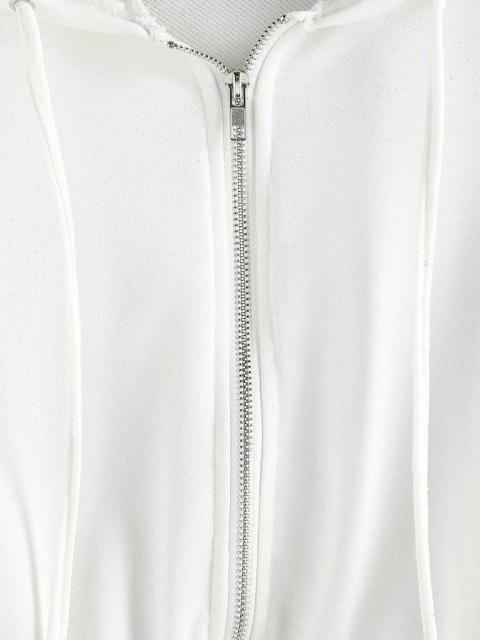 ladies ZAFUL Zip Up French Terry Cropped Hoodie - WHITE XL Mobile