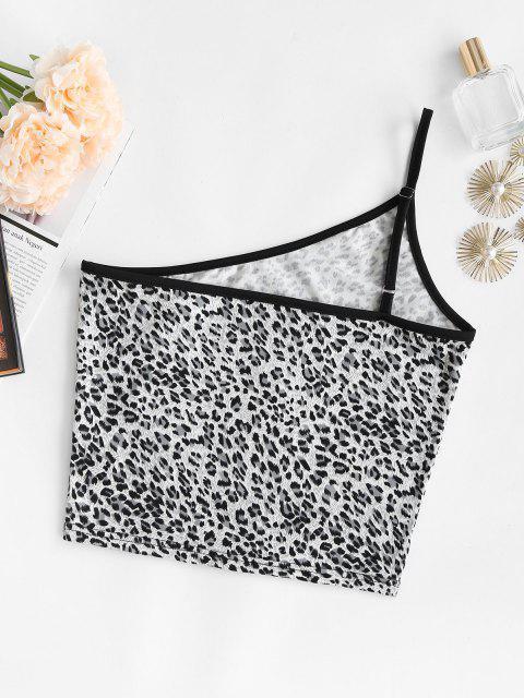 women's Leopard Binding One Shoulder Cami Top - GRAY M Mobile