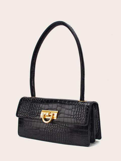 Rectangle Retro Shoulder Bag - أسود  Mobile