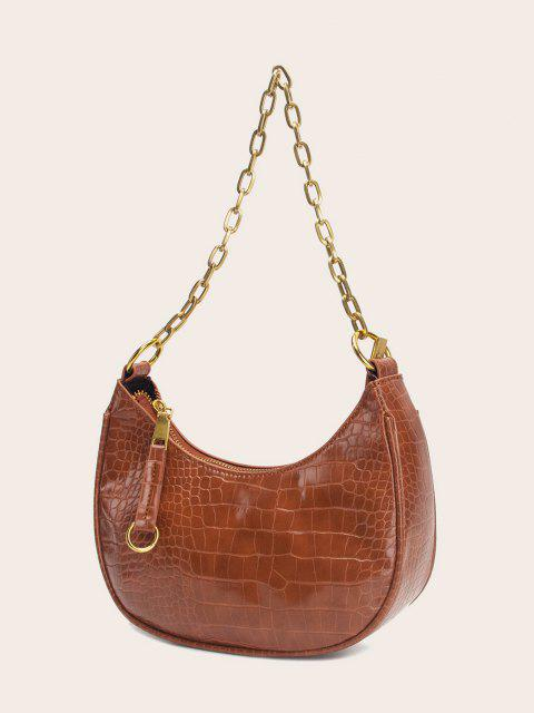 hot Retro Chain Stone Grain Shoulder Bag - BROWN  Mobile