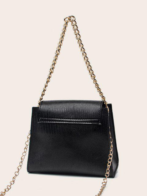 latest Chain Cover Hasp Crossbody Bag - BLACK  Mobile