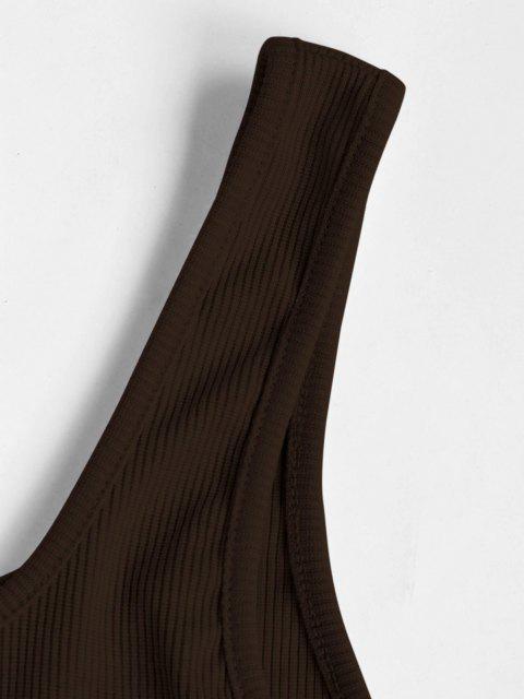 Canotta Corta a Costine Stampata Cuore con Bottoni - colore di caffè scuro  S Mobile