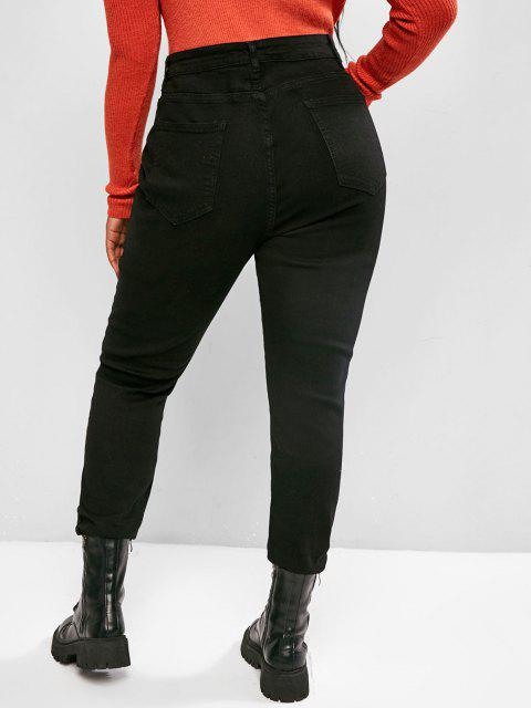 best Plus Size Distressed Skinny Jeans - BLACK 5XL Mobile