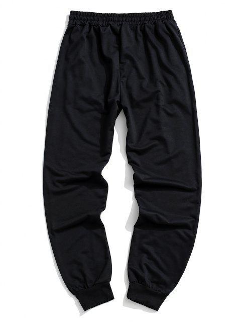 womens Button Zipper Embellished Jogger Sweatpants - BLACK L Mobile