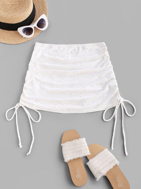 chic ZAFUL Broderie Anglaise Cinched Side Mini Beach Skirt - WHITE L Mobile