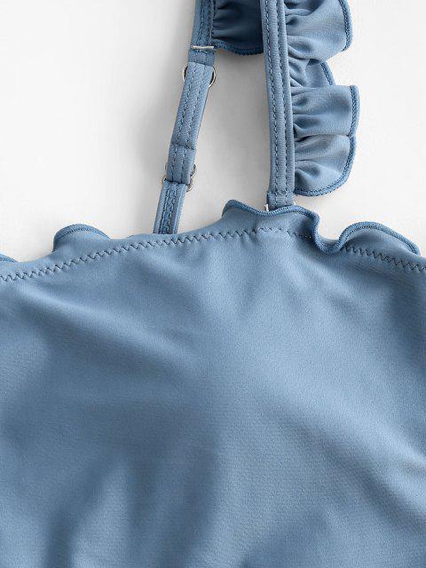 best ZAFUL Lettuce High Waisted Cropped Tankini Swimwear - LIGHT BLUE M Mobile