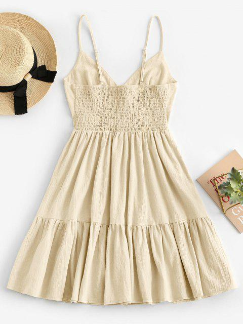 affordable ZAFUL Button Embellished Smocked Flounce Hem Cami Dress - LIGHT YELLOW M Mobile