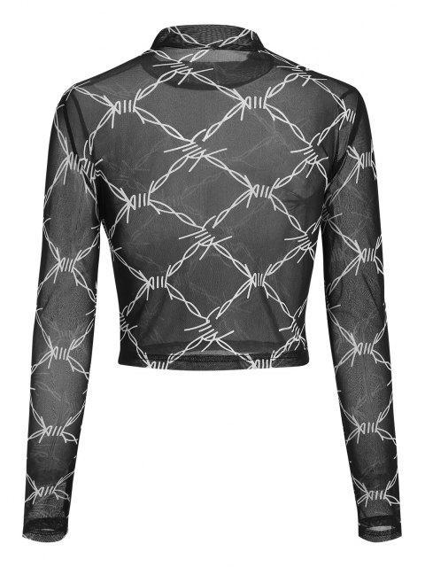 ZAFUL T-shirt Court Géométrique en Maille à Col Montant - Noir XL Mobile