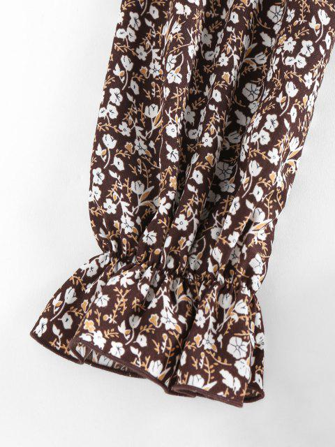 womens ZAFUL Ditsy Print Off Shoulder Ruffle Smocked Cinched Blouse - COFFEE S Mobile