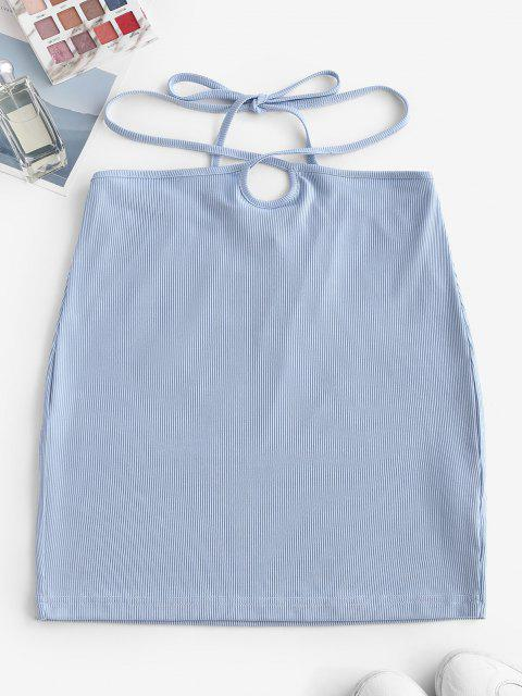 sale ZAFUL Ribbed Straps Tie Bodycon Skirt - LIGHT BLUE L Mobile