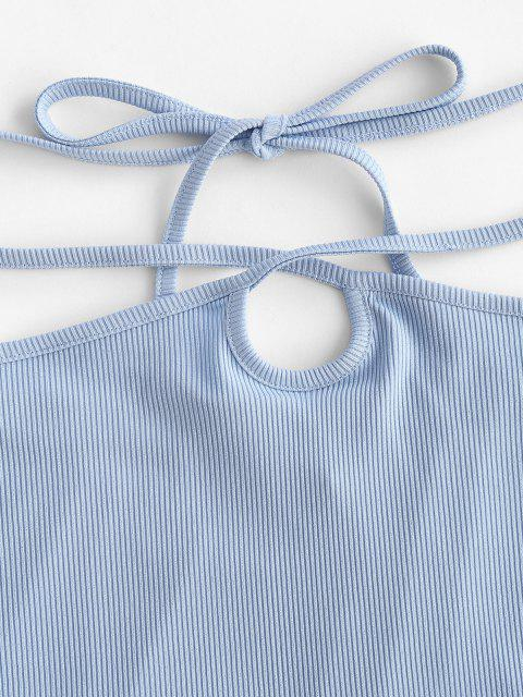lady ZAFUL Ribbed Straps Tie Bodycon Skirt - LIGHT BLUE M Mobile