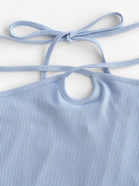 shop ZAFUL Ribbed Straps Tie Bodycon Skirt - LIGHT BLUE S Mobile