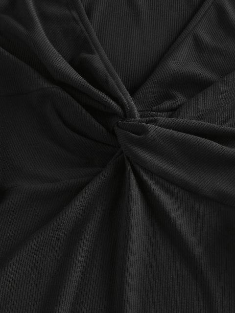 ZAFUL Vestido Torcido Acanalado Ajustado - Negro S Mobile