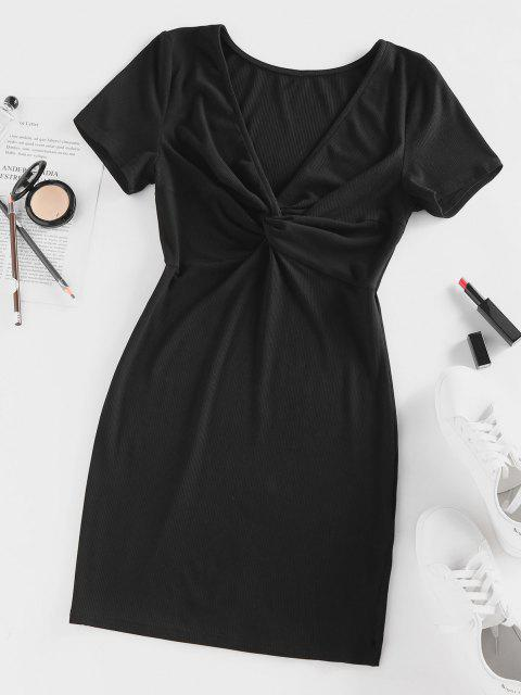 ladies ZAFUL Ribbed Twisted Plunge Fitted Dress - BLACK L Mobile